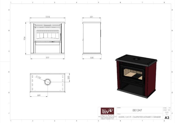 Calefator LIV419 de Dupla Combustão Monarch  - Decorgrill - A certeza do melhor para o seu espaço gourmet!