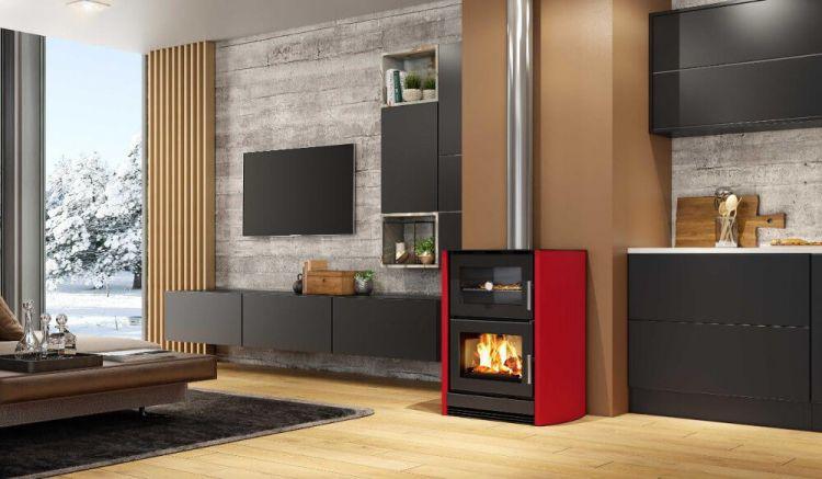 Calefator LIV com Forno integrado Vermelho e Dupla Combustão