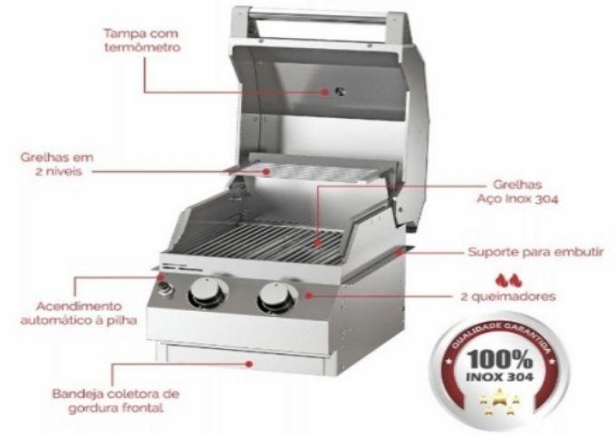 Churrasqueira a Gás Amazingrill com Dois Queimadores E2  - Decorgrill - A certeza do melhor para o seu espaço gourmet!