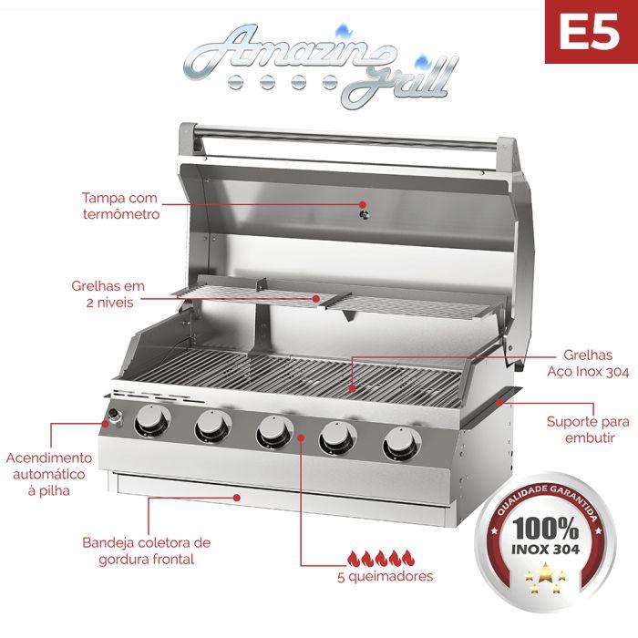 Churrasqueira a Gás Amazingrill E5  - Decorgrill - A certeza do melhor para seu espaço gourmet!