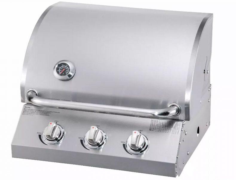 Churrasqueira a Gás em Inox de Embutir com 3 Queimadores