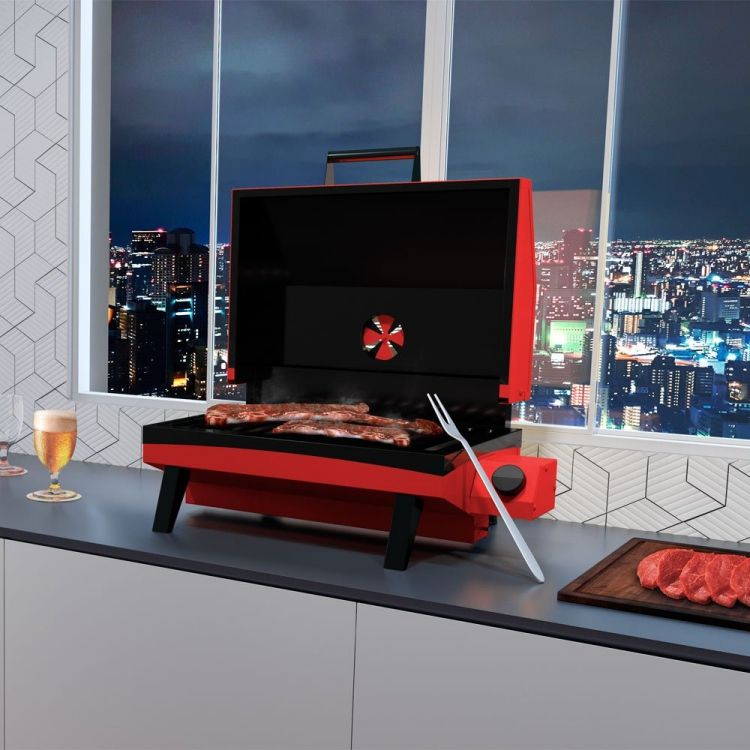 Churrasqueira a Gás Portátil Vermelha GS500EV Metavila  - Decorgrill - A certeza do melhor para seu espaço gourmet!