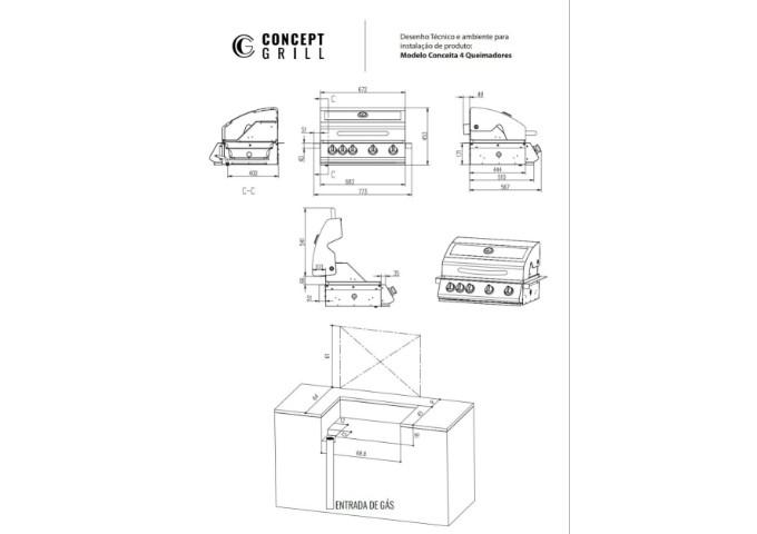 Churrasqueira Conceptgrill a Gás com Infrared e 4 Queimadores em Inox 304  - Decorgrill - A certeza do melhor para o seu espaço gourmet!