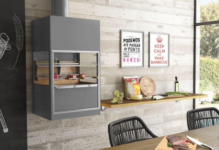 Churrasqueira de Parede Galvanizada Cinza 725C Metavila   - Decorgrill - A certeza do melhor para seu espaço gourmet!