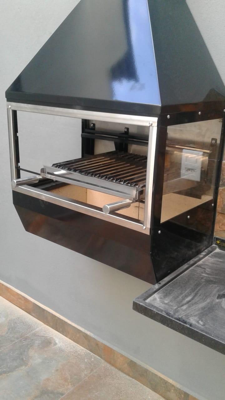 Churrasqueira de Parede Gourmet em Inox 430 Black Piano