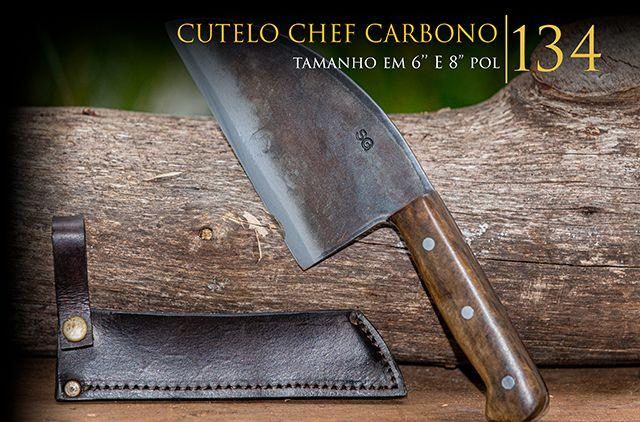 Cutelo Chef Carbono - 8 Pol  - Decorgrill - A certeza do melhor para o seu espaço gourmet!