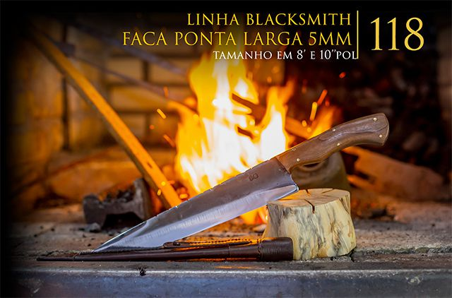 Faca BlackSmith Ponta Larga 05MM - 8 Pol