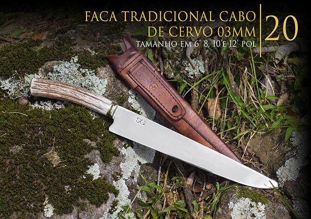 Faca Tradicional Cabo de Cervo 03MM - 10 Pol