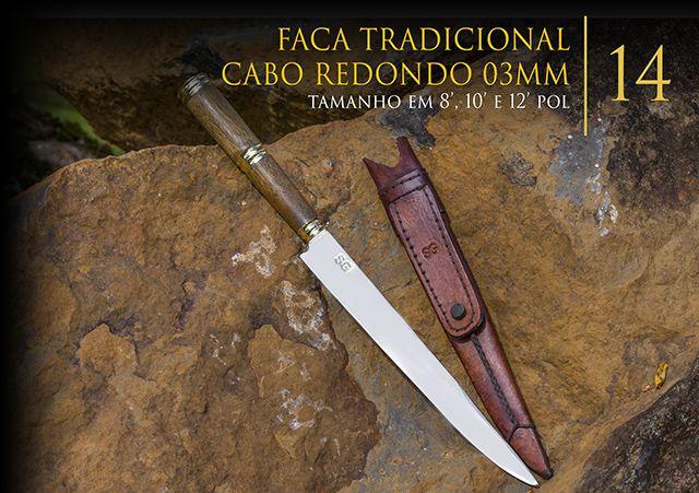 Faca SG Tradicional Cabo Redondo 8 Polegadas com 03MM de Lamina