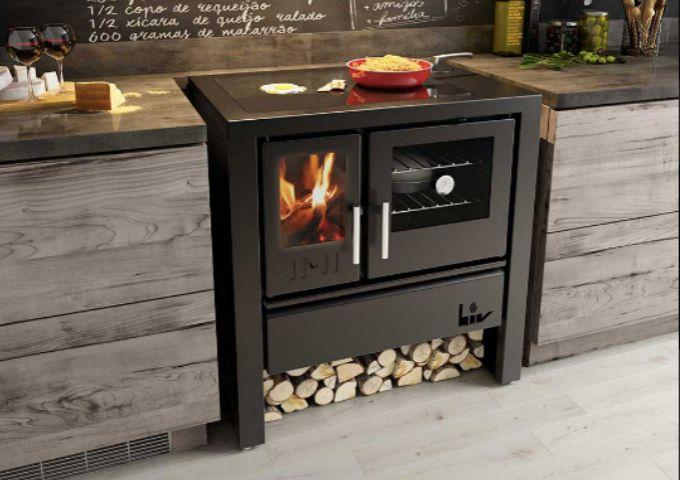 Fogão à Lenha LIV803 de Dupla Combustão com Tampo de Vidro  - Decorgrill - A certeza do melhor para o seu espaço gourmet!
