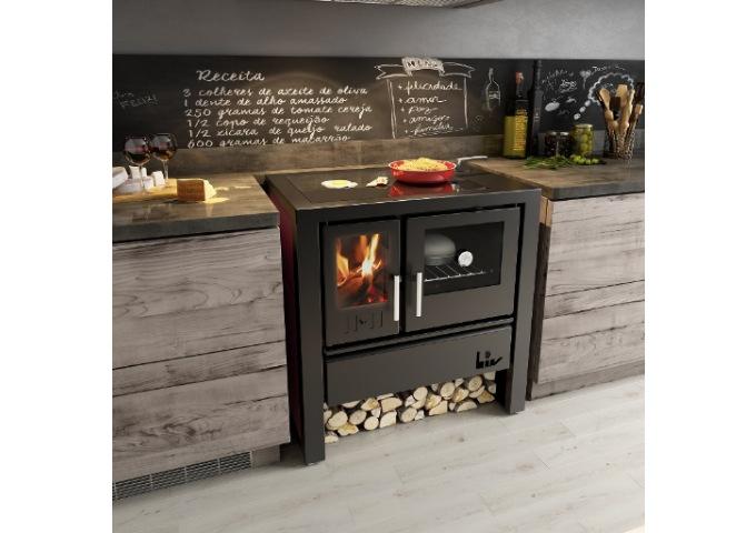 Fogão à Lenha LIV 806 de Dupla Combustão com Tampo de Vidro  - Decorgrill - A certeza do melhor para o seu espaço gourmet!