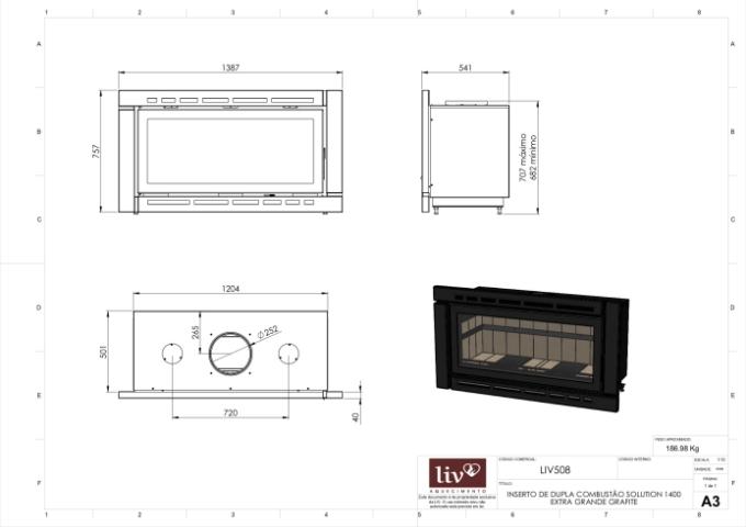 Inserto de Dupla Combustão Carenado LIV508  - Decorgrill - A certeza do melhor para o seu espaço gourmet!