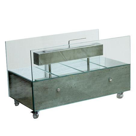 Lareira Grande Concreto Espelhos Prata FullWay