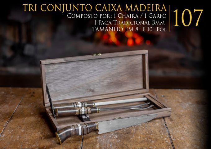 Tri Conjunto Caixa Madeira - 8 Pol