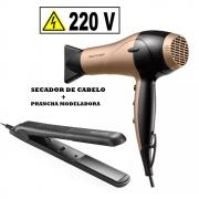 b10b456f2 Kit Multilaser secador de cabelo Gold dourado + prancha modeladora Beauty  220 V