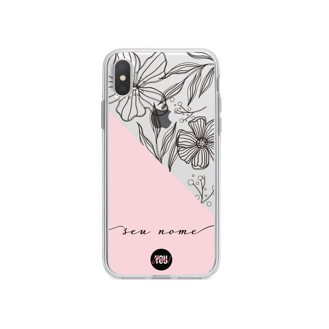 Case Black Flowers in Rose
