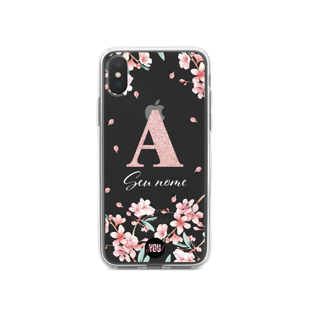 Case Monograma Flowers and Glitter