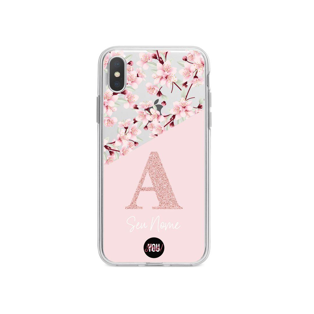 Case Monograma Glitter Floral