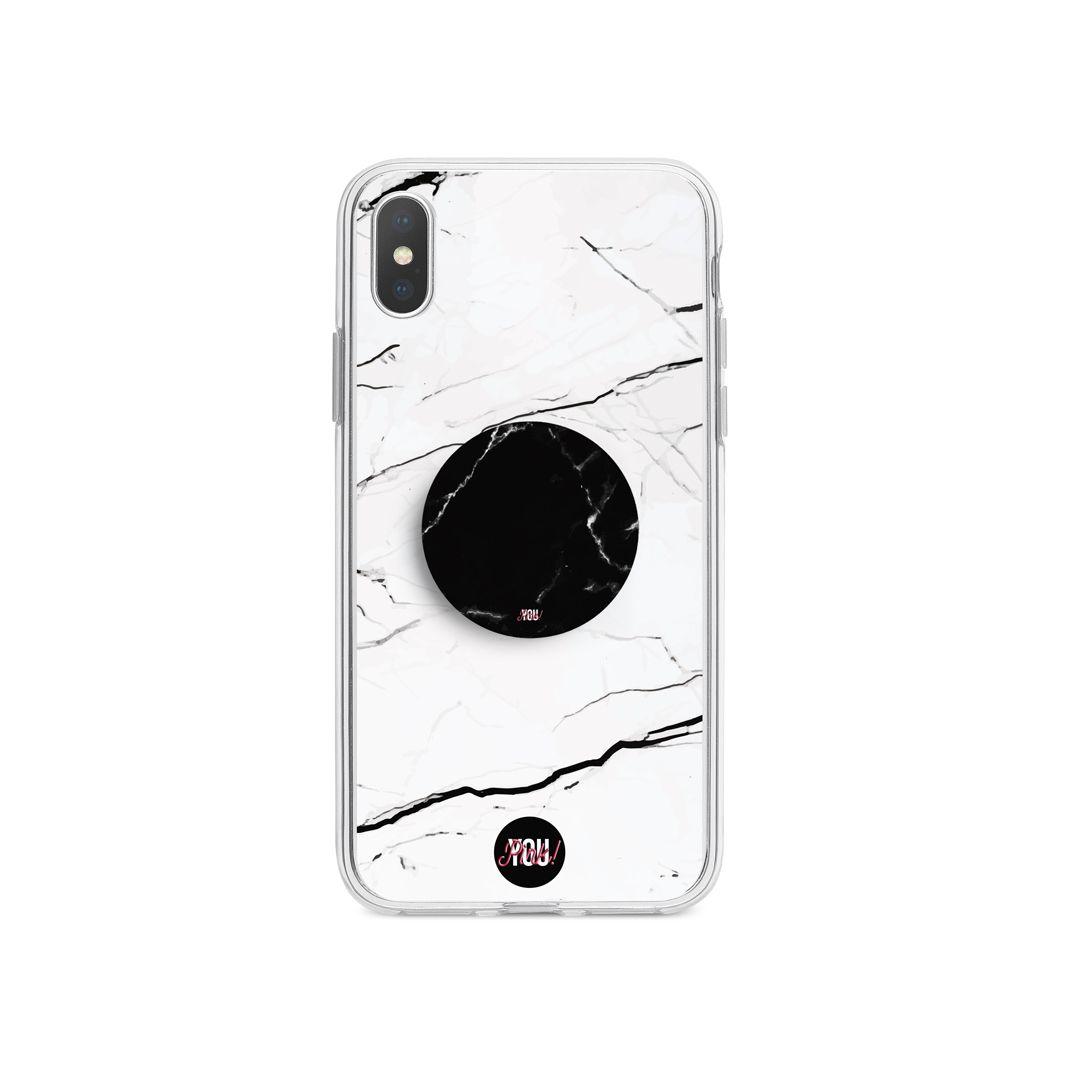 Kit Case White Marble + Suporte Pop Mármore Preto