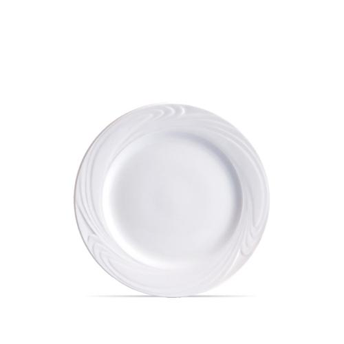 Prato Raso de  Porcelana Branca Waves