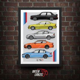 QUADRO/POSTER BMW M3 GENERATIONS
