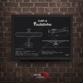 QUADRO/POSTER AVIÃO PAULISTINHA CAP-4