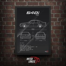 QUADRO/POSTER BMW 540I E34 SEDAN SÉRIE 5
