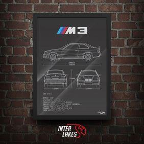 QUADRO/POSTER BMW M3 E36 SÉRIE 3 COUPE