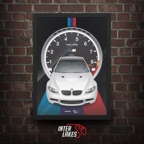 QUADRO/POSTER BMW M3 E92 2012 - SÉRIE ICONS - escolha a cor do carro