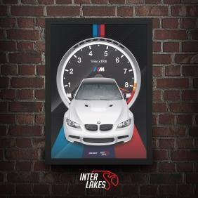 QUADRO/POSTER BMW M3 E92 2012 - SÉRIE ICONS - escolha a cor