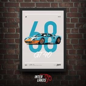 QUADRO/POSTER FORD GT40 1968 - SÉRIE CLÁSSICOS