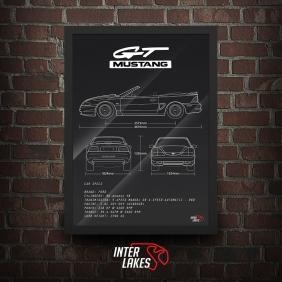 QUADRO/POSTER FORD MUSTANG GT V8 1995 CONVERSÍVEL