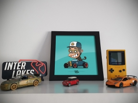 QUADRO/POSTER MACACO HOTROD  - TOON MY CAR