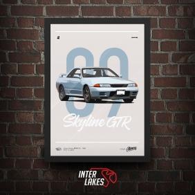 QUADRO/POSTER NISSAN SKYLINE GT-R R32 1989 - SÉRIE CLÁSSICOS