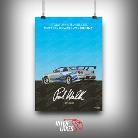 QUADRO/POSTER PAUL WALKER NISSAN SKYLINE R34