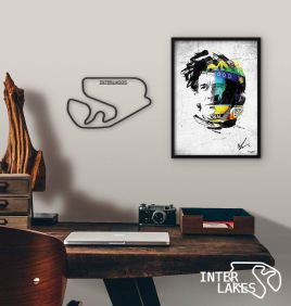 QUADRO DECORATIVO RETRATO AYRTON SENNA + AUTODROMO DE INTERLAGOS (11% OFF)