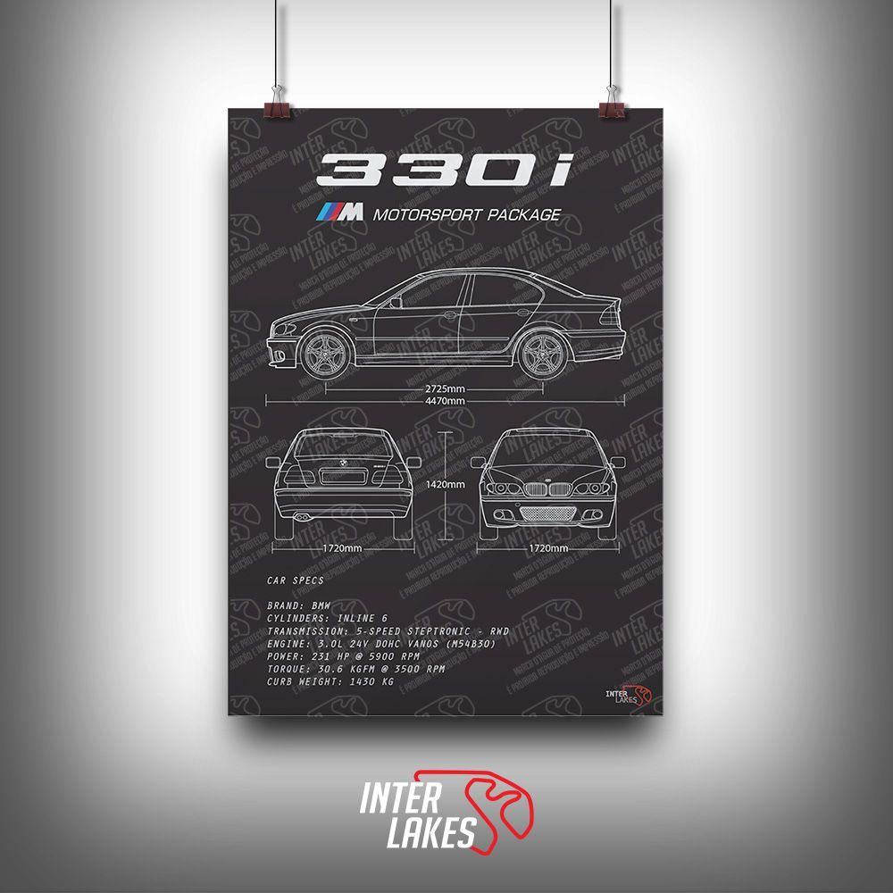 QUADRO/POSTER BMW 330I E46 SÉRIE 3 SEDAN