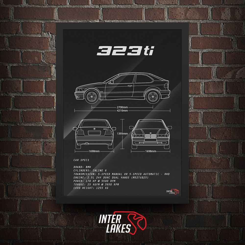 QUADRO/POSTER BMW 323TI E36 SÉRIE 3 COUPÉ