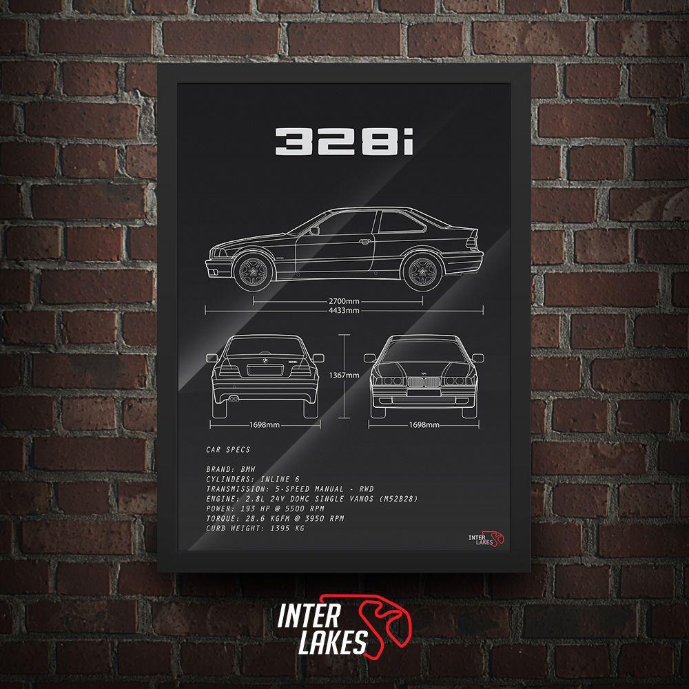 QUADRO/POSTER BMW 328I E36 SÉRIE 3 COUPÉ