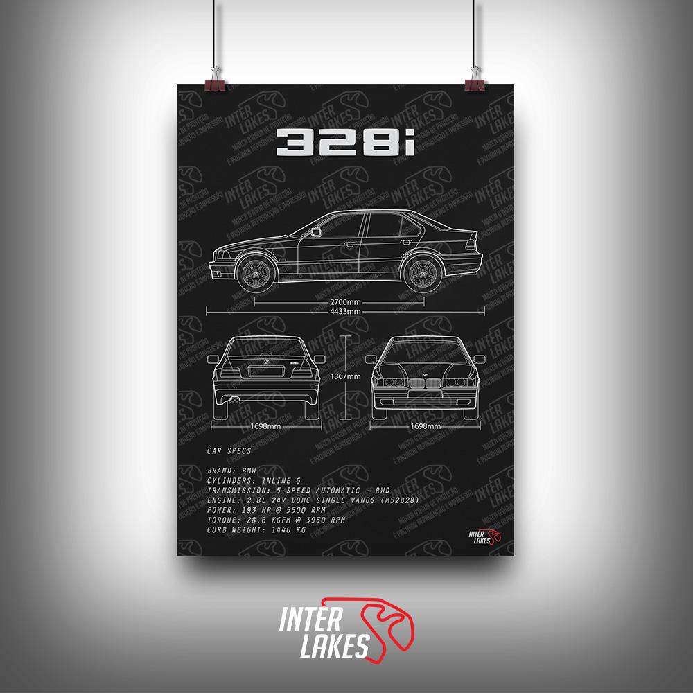 QUADRO/POSTER BMW 328I E36 SÉRIE 3 SEDAN