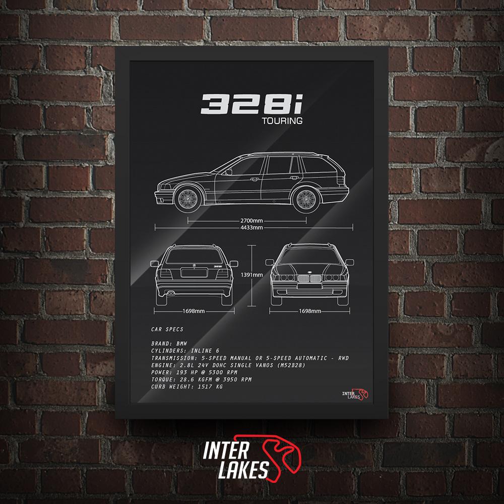 QUADRO/POSTER BMW 328I E36 SÉRIE 3 TOURING
