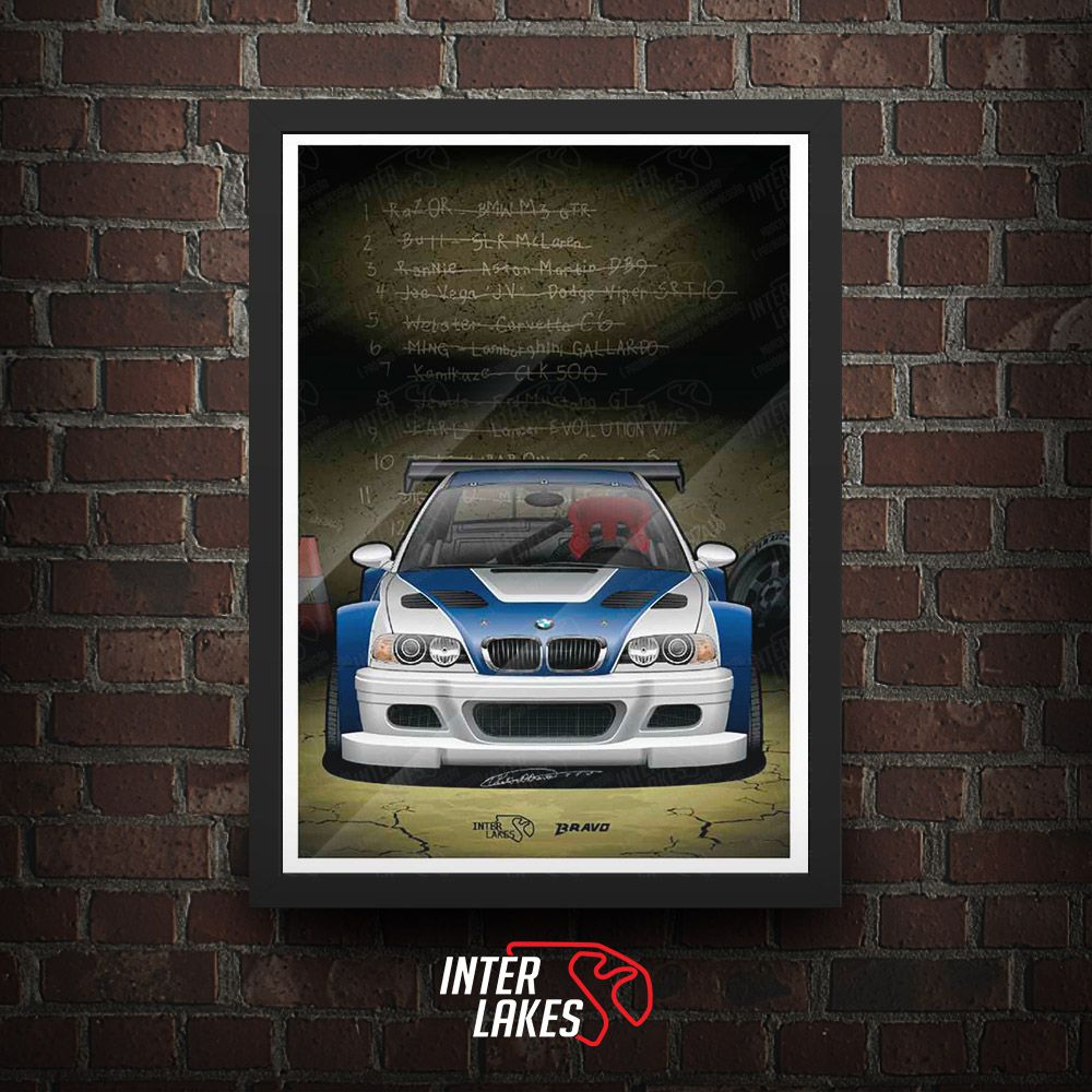 QUADRO/POSTER BMW M3 GTR MOST WANTED