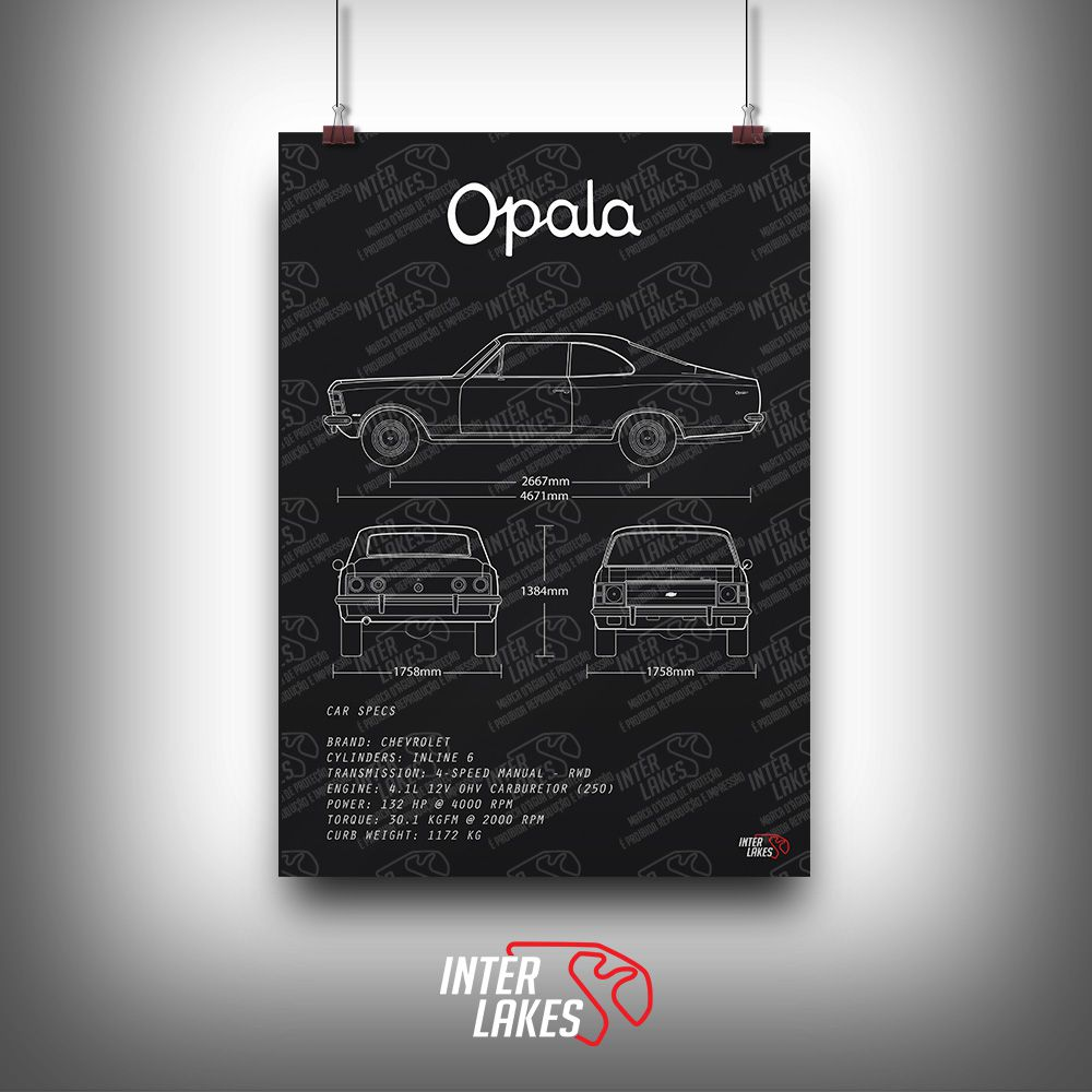 QUADRO/POSTER CHEVROLET OPALA STANDARD COUPE 4.1 1975
