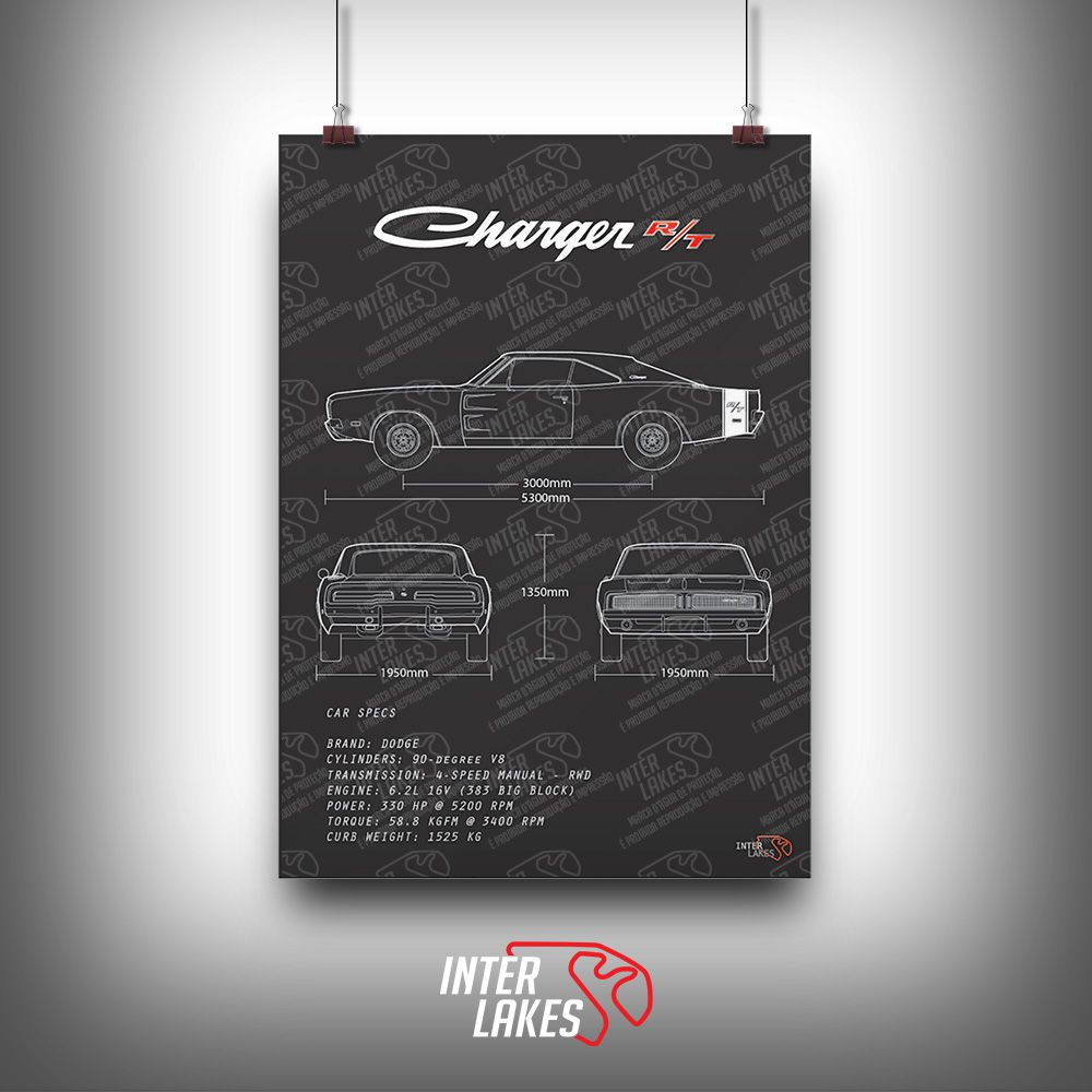 QUADRO/POSTER DODGE CHARGER RT 69