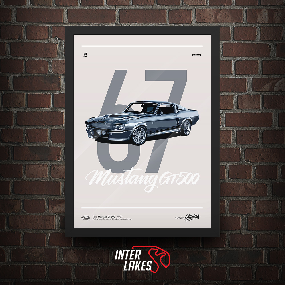 QUADRO/POSTER FORD MUSTANG GT500 1967 - SÉRIE CLÁSSICOS