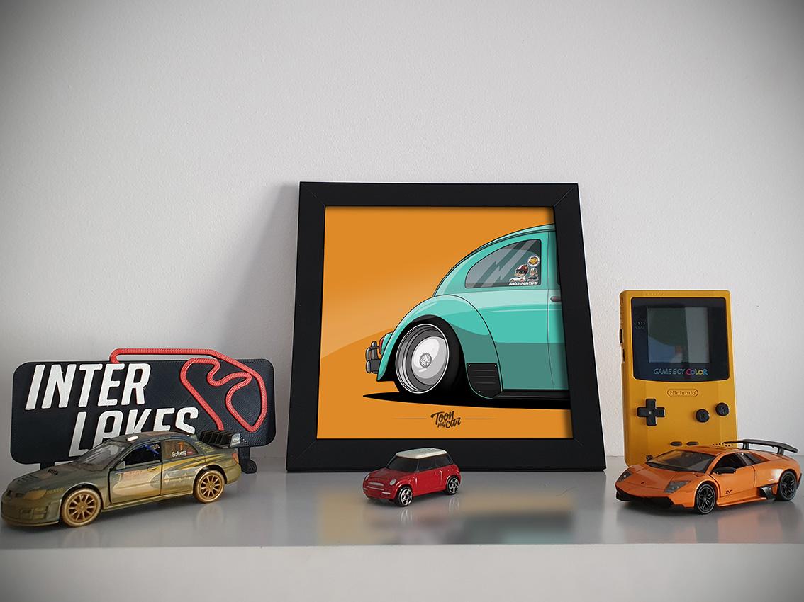 QUADRO/POSTER FUSCA SLAMMED STANCED - TOON MY CAR