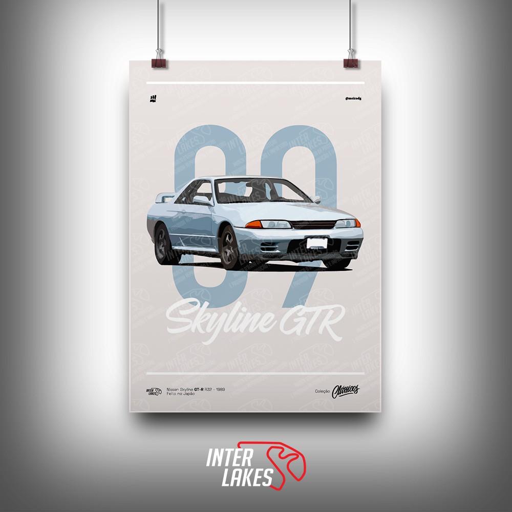 QUADRO/POSTER NISSAN SKYLINE GT-R R32 1989 - CLÁSSICOS MEIRA DG
