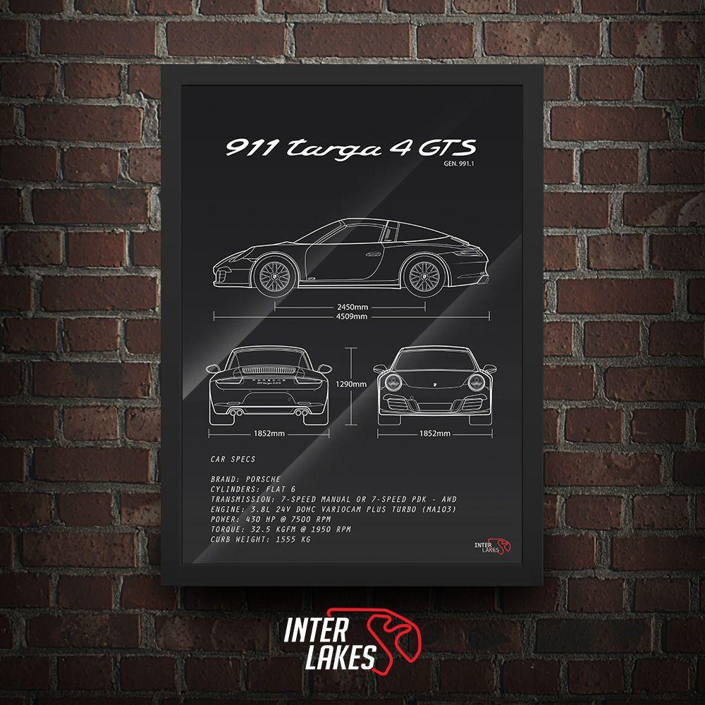 QUADRO/POSTER PORSCHE 911 TARGA 4 GTS 991.1
