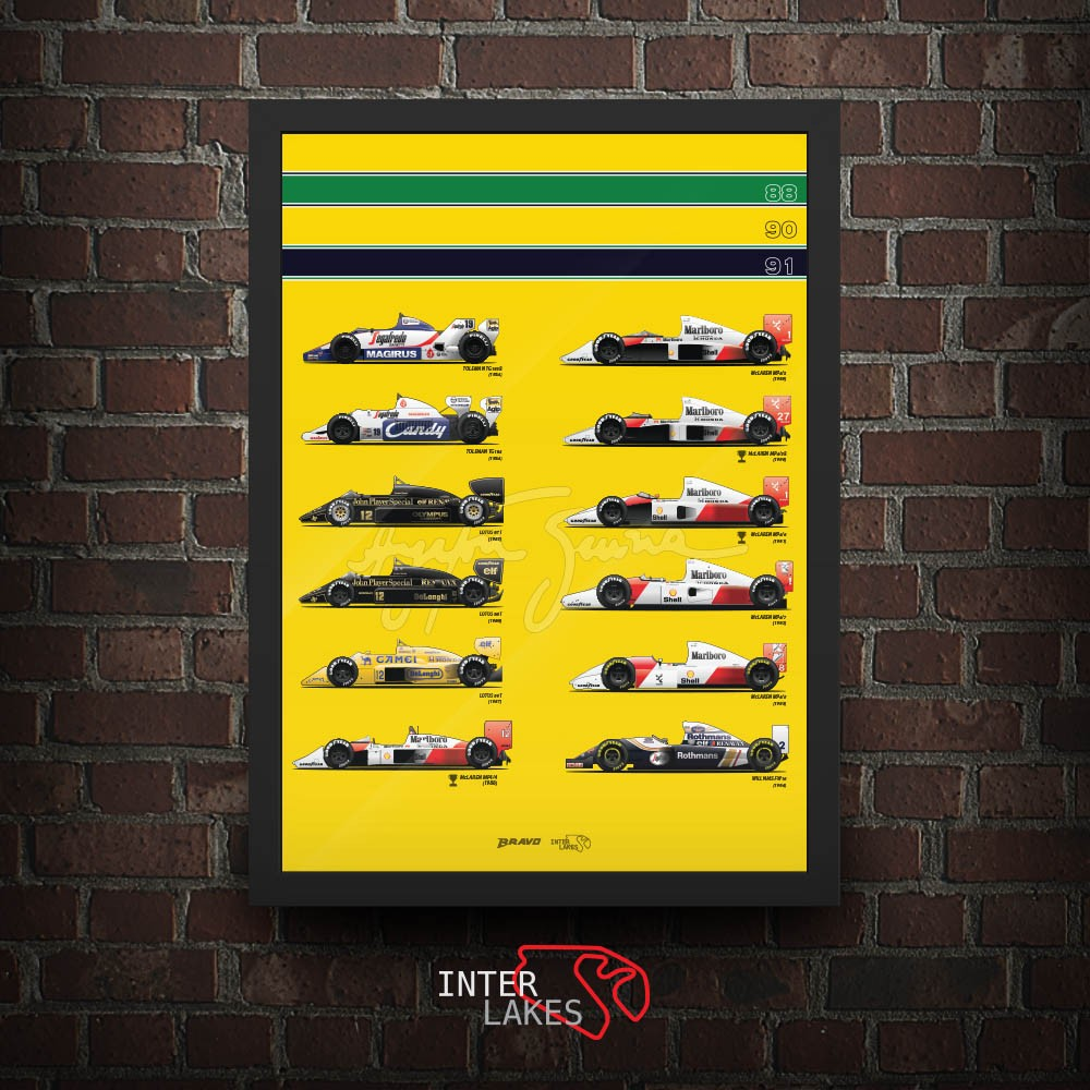 QUADRO DECORATIVO SENNA CARS + AUTÓDROMO DE INTERLAGOS 30 CM (11% OFF)