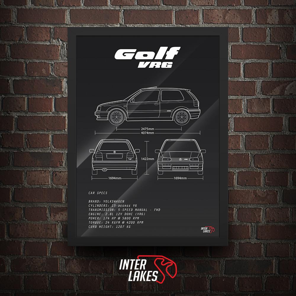 QUADRO/POSTER VOLKSWAGEN GOLF GTI VR6 MK3